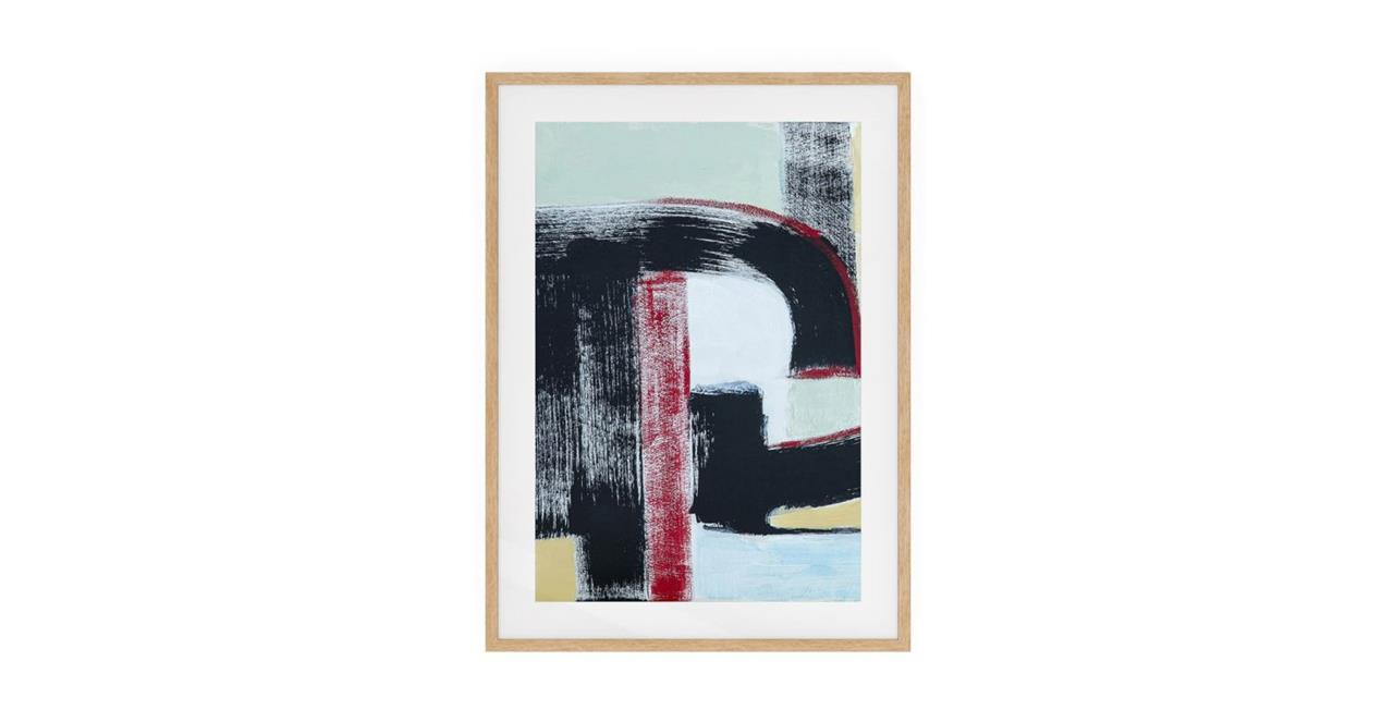 The Farbe Print Natural Wood Frame Medium Red