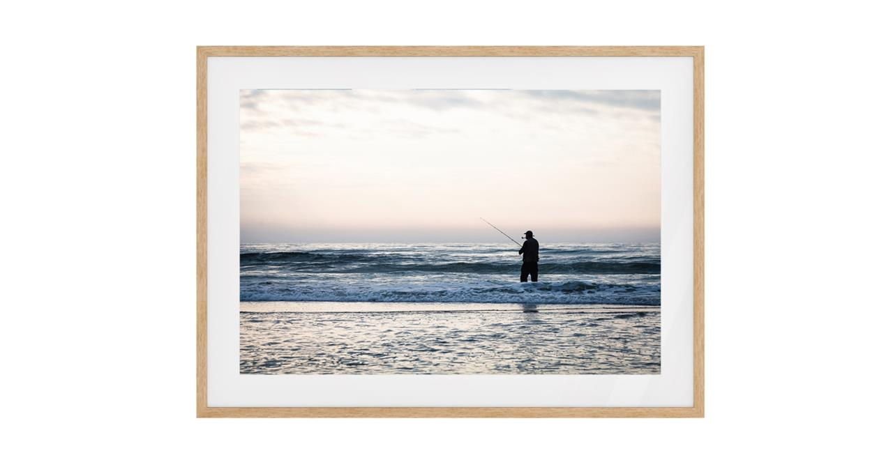 The Ocean Print Natural Wood Frame Small