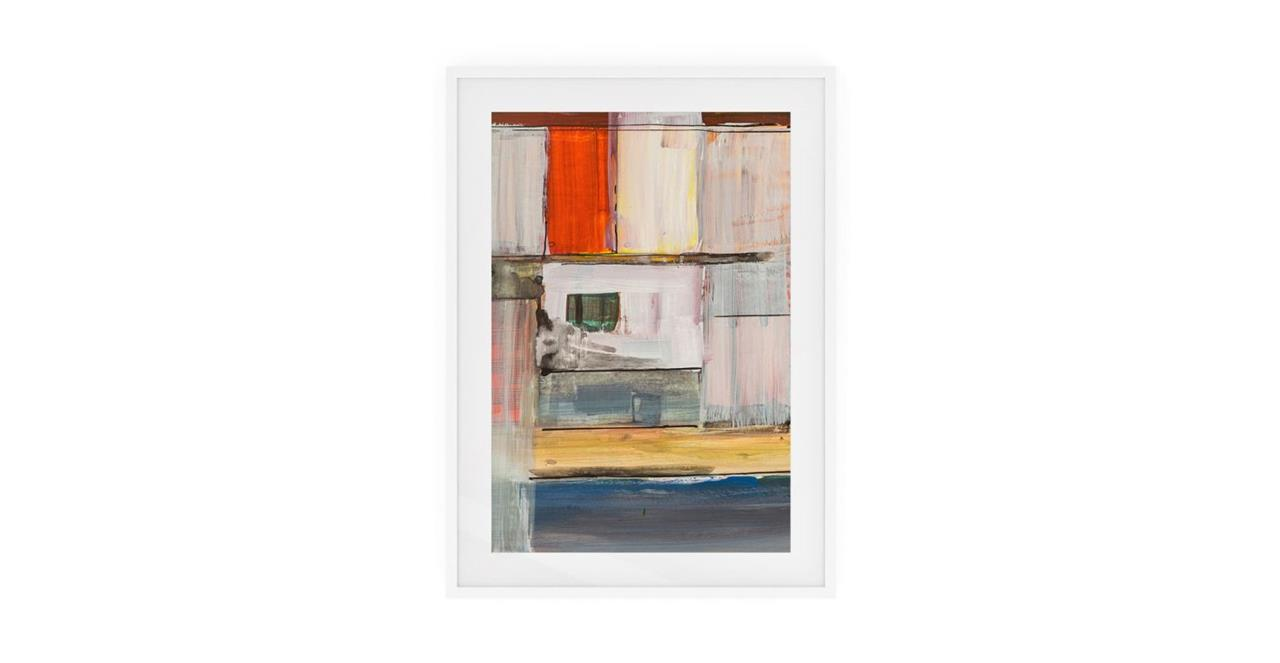 The Panels Print White Wood Frame Small Red
