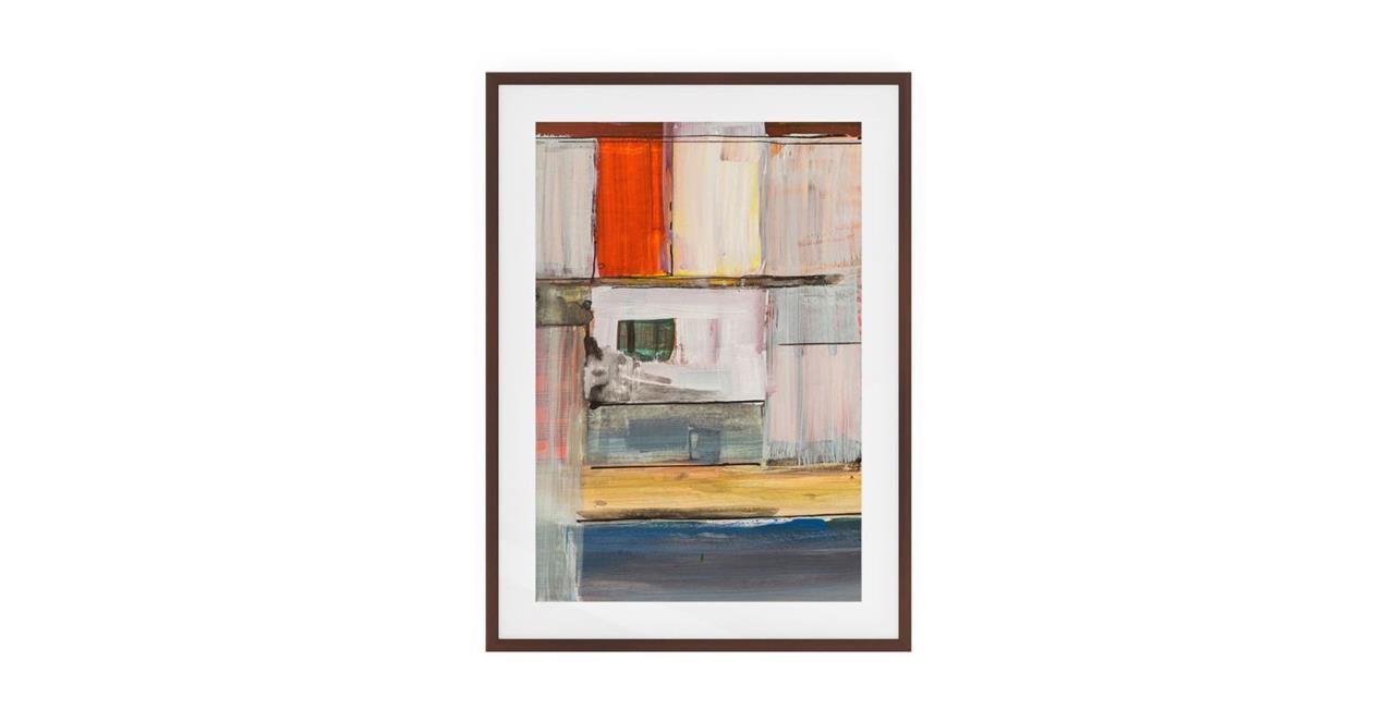 The Panels Print Dark Brown Wood Frame Medium Red