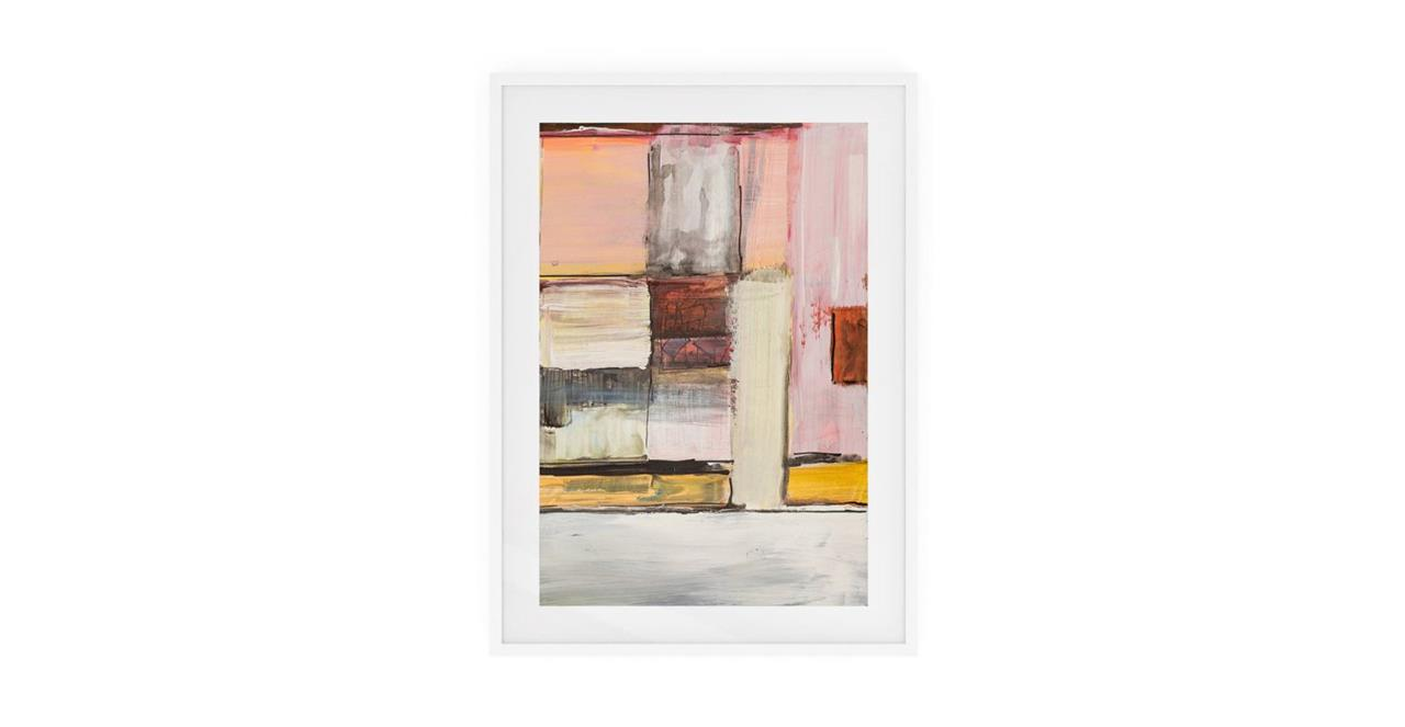 The Panels Print White Wood Frame Small Pink