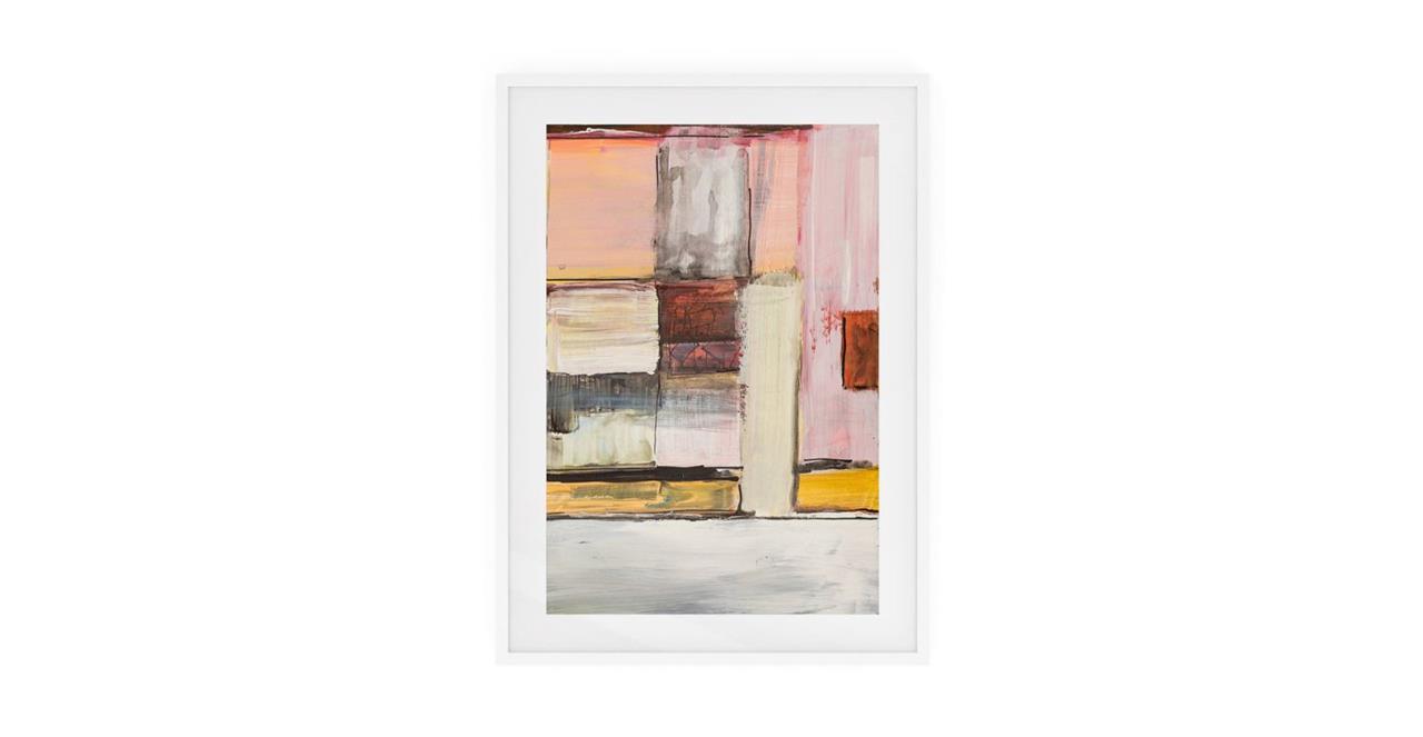 The Panels Print White Wood Frame Medium Pink