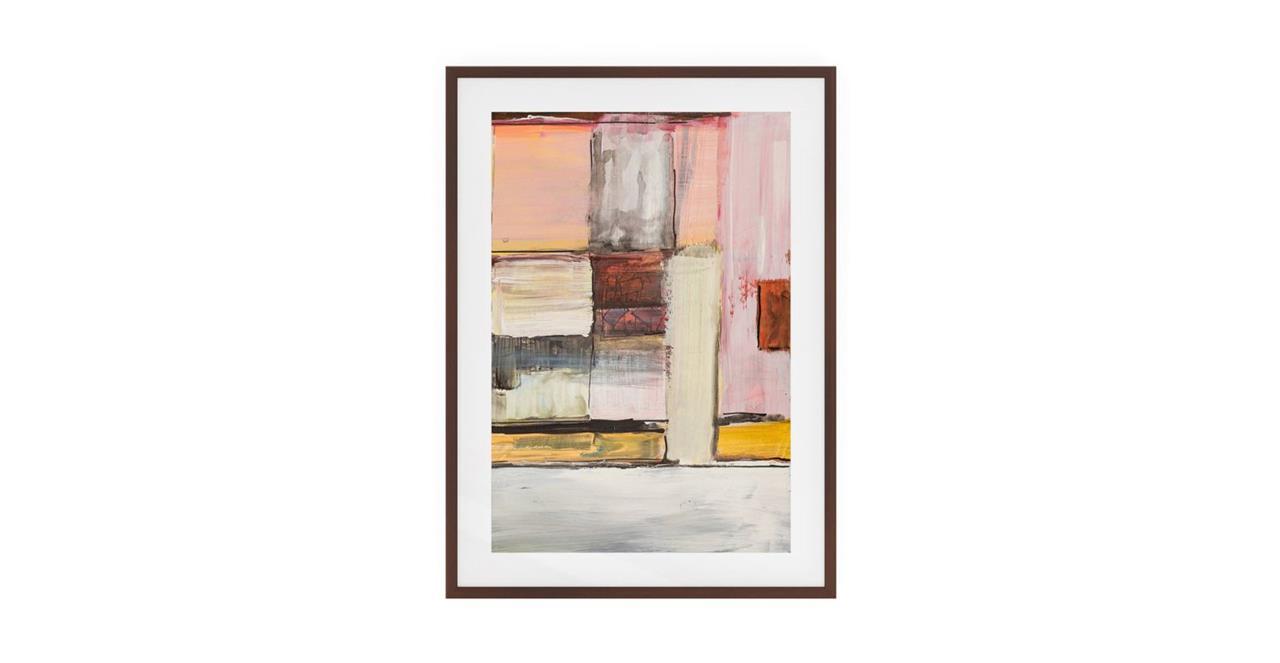 The Panels Print Dark Brown Wood Frame Medium Pink