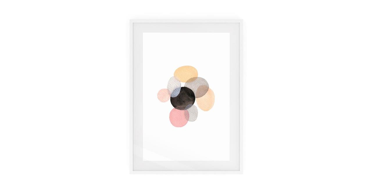 The Pebbles Print White Wood Frame Small