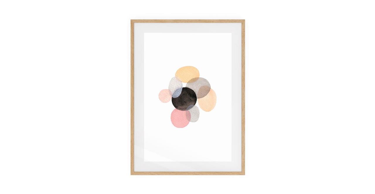 The Pebbles Print Natural Wood Frame Small