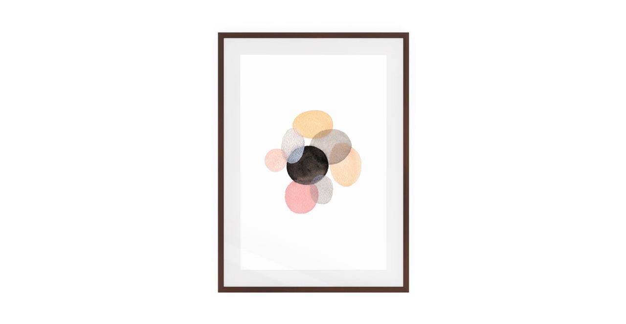 The Pebbles Print Dark Brown Wood Frame Small