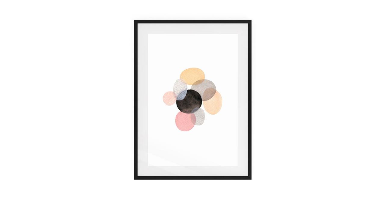 The Pebbles Print Black Wood Frame Medium