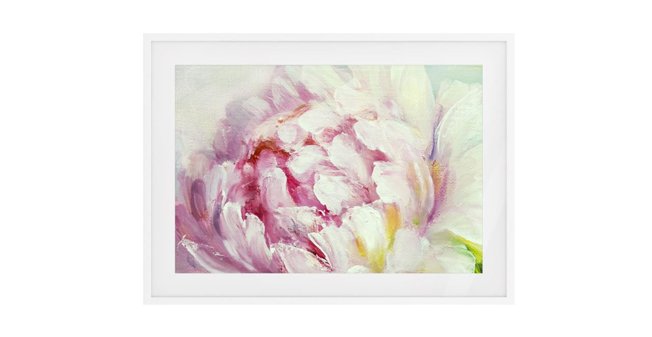 The Petal Print White Wood Frame Small