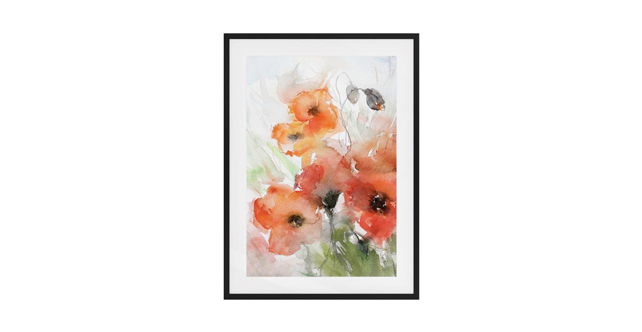 The Poppy Print Black Wood Frame Small