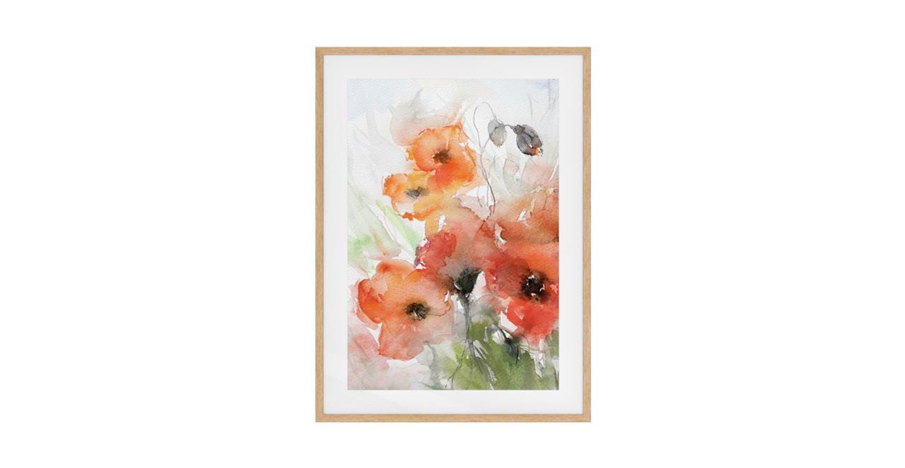 The Poppy Print Natural Wood Frame Medium