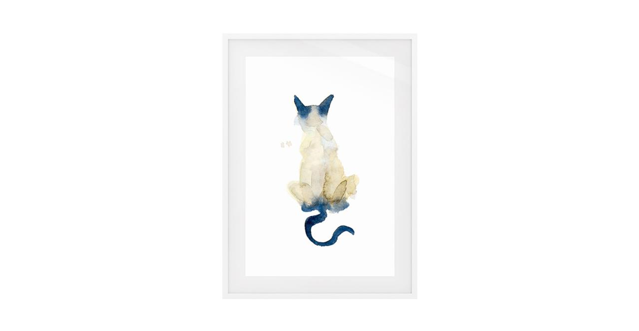 The Porcelain Cat Print White Wood Frame Small