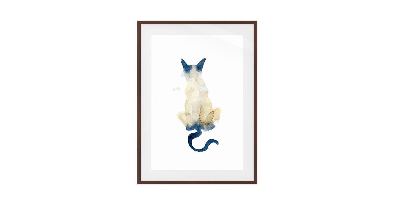 The Porcelain Cat Print Dark Brown Wood Frame Small
