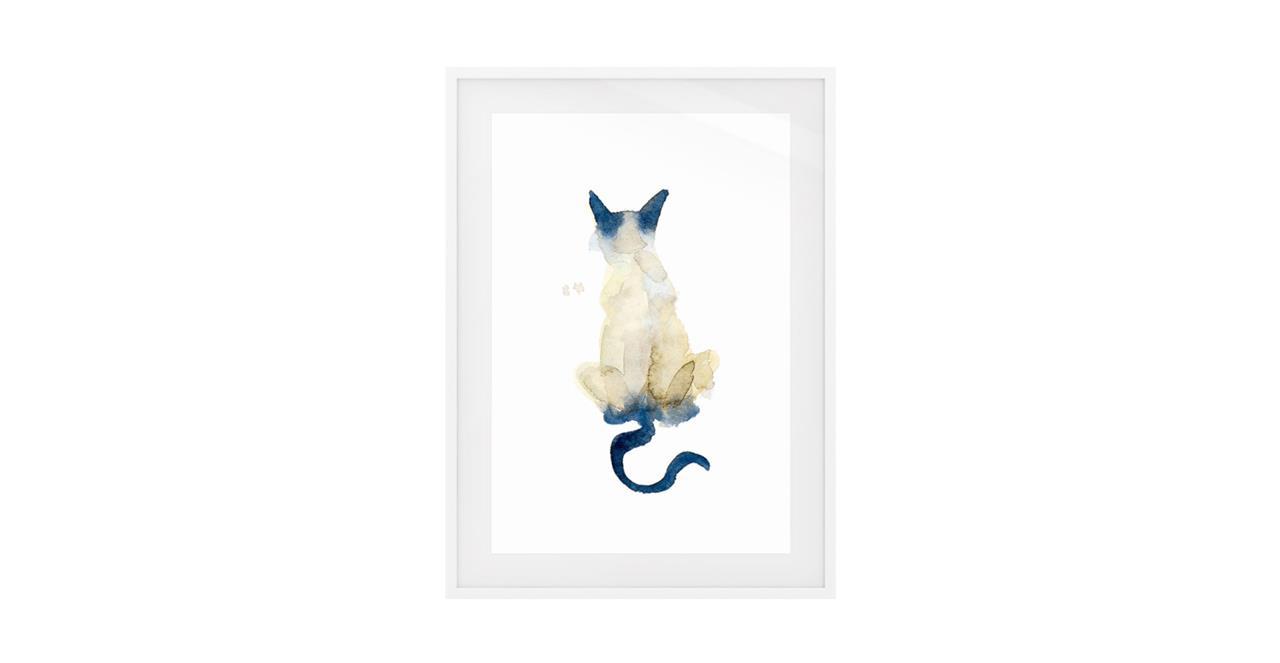 The Porcelain Cat Print White Wood Frame Medium