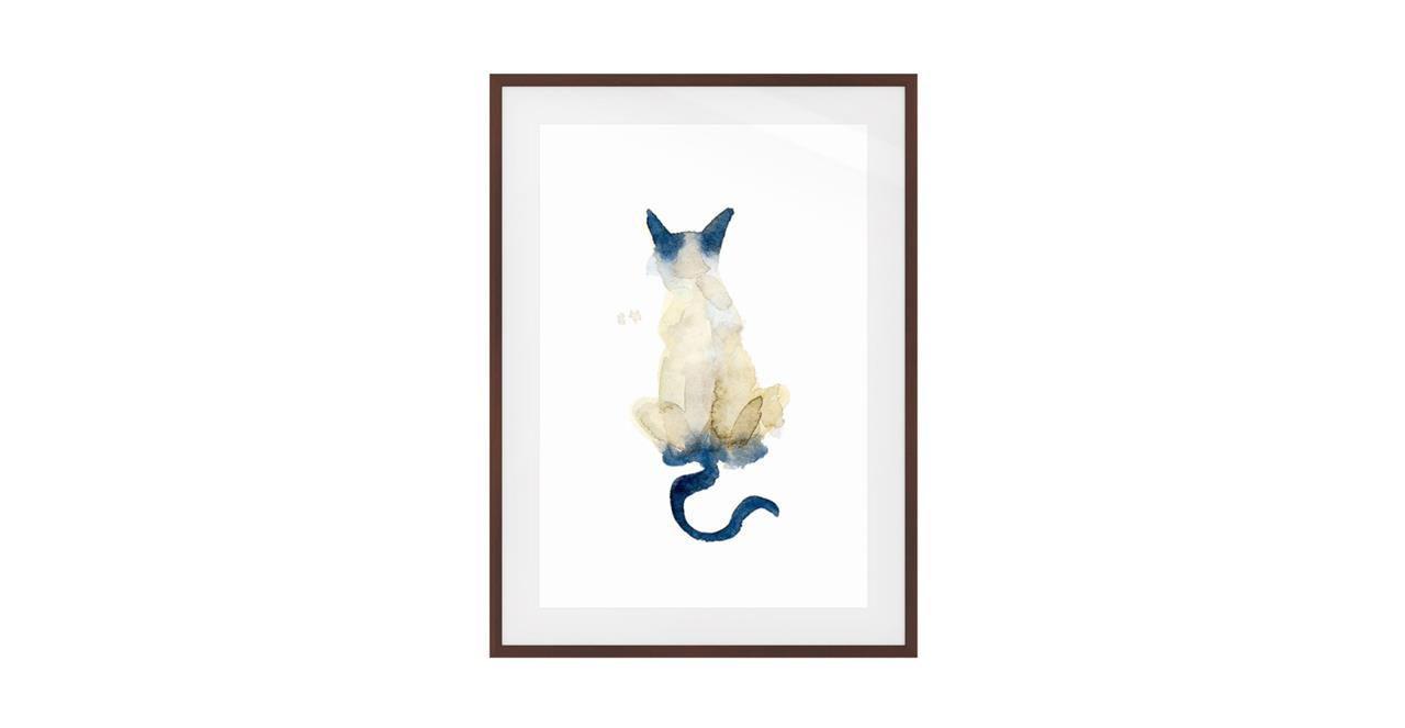 The Porcelain Cat Print Dark Brown Wood Frame Medium