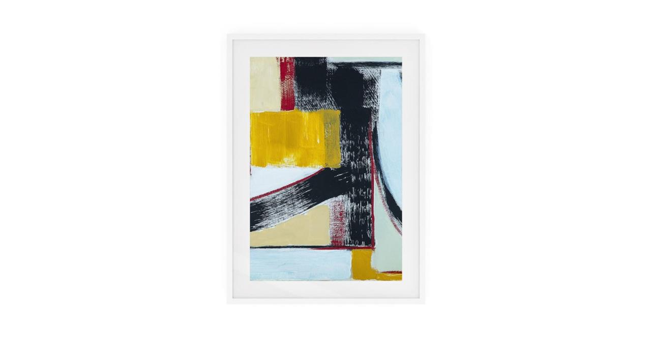 The Farbe Print White Wood Frame Small Yellow