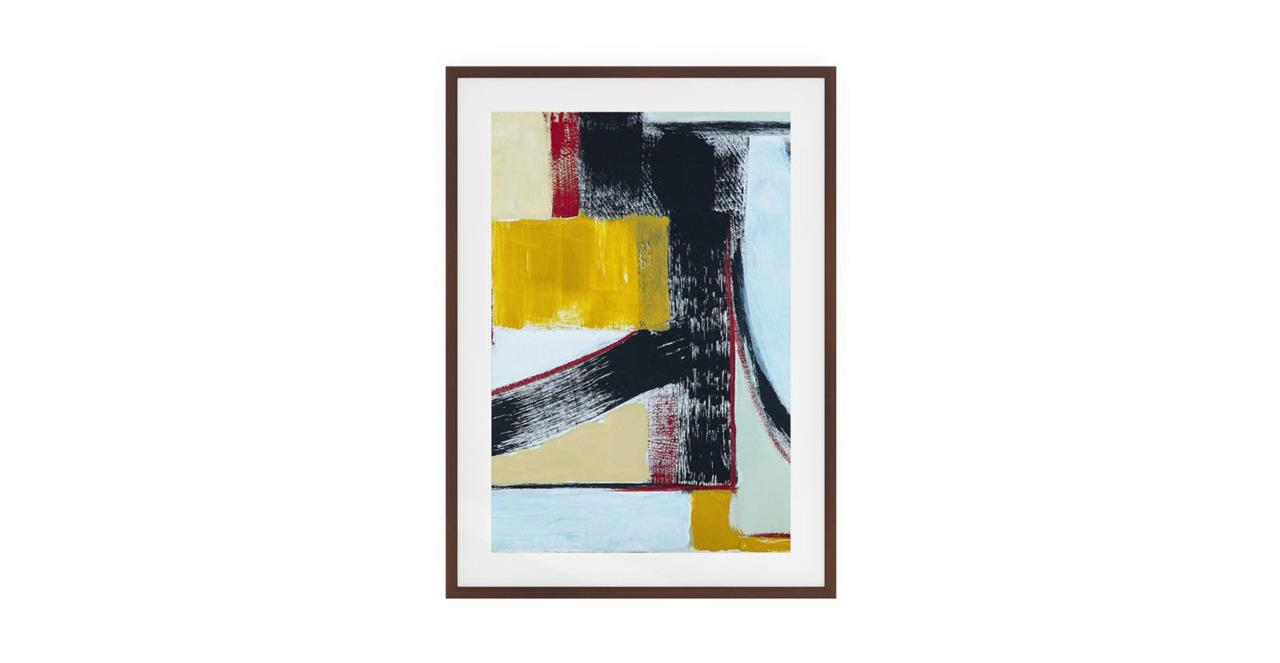 The Farbe Print Dark Brown Wood Frame Small Yellow