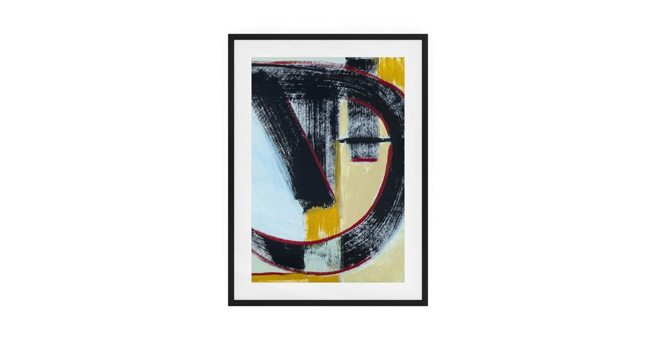 The Farbe Print Black Wood Frame Small Blue