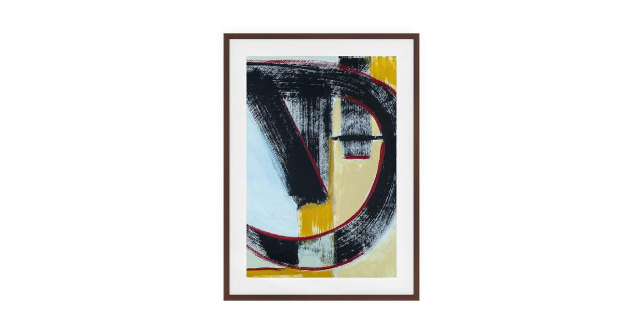 The Farbe Print Dark Brown Wood Frame Small Blue