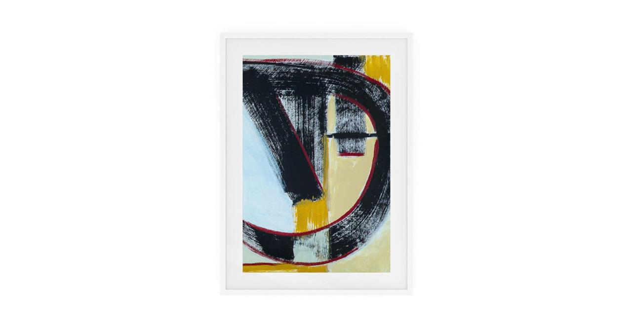 The Farbe Print White Wood Frame Medium Blue