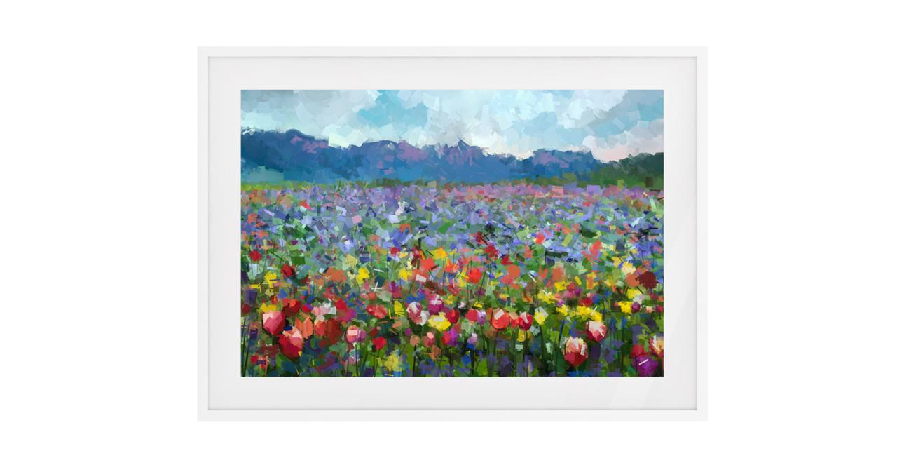 The Field Print White Wood Frame Small