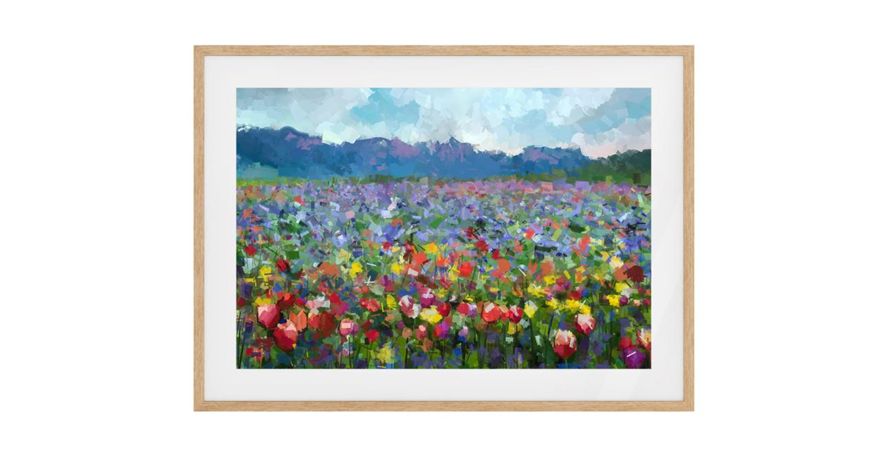 The Field Print Natural Wood Frame Small