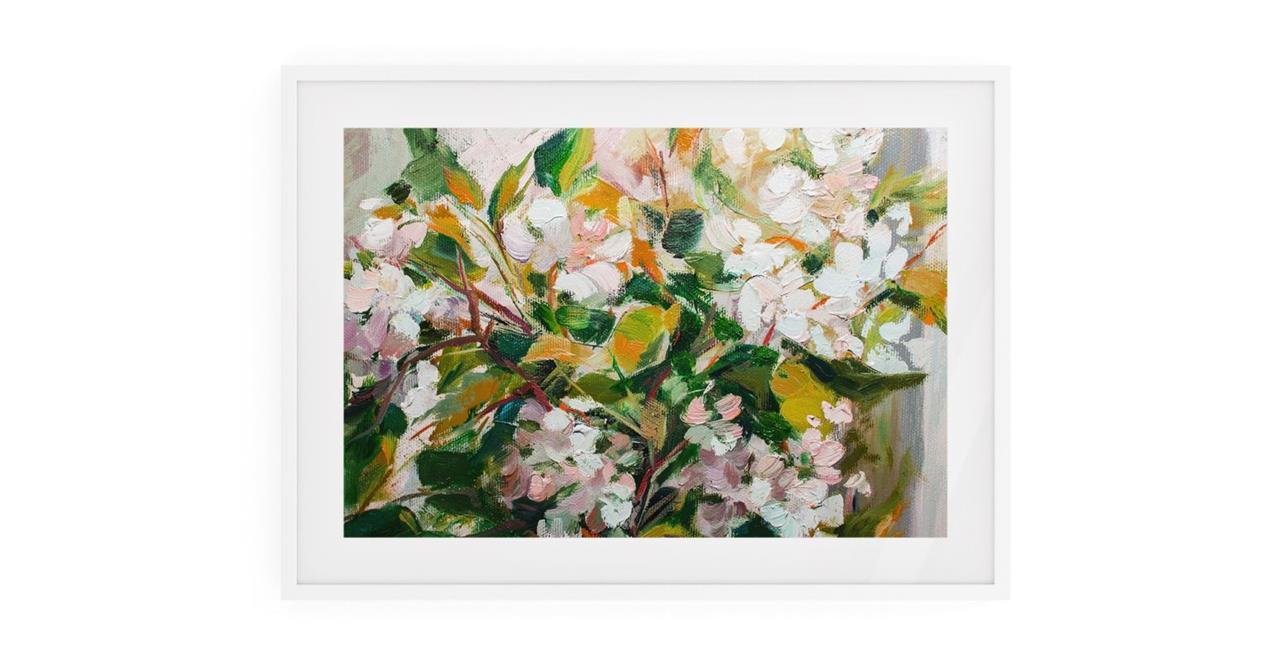 The Floret Print White Wood Frame Medium