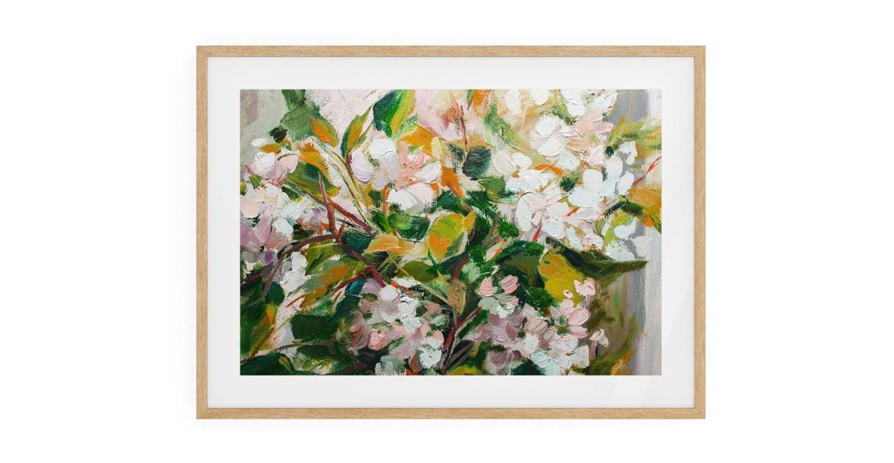 The Floret Print Natural Wood Frame Medium