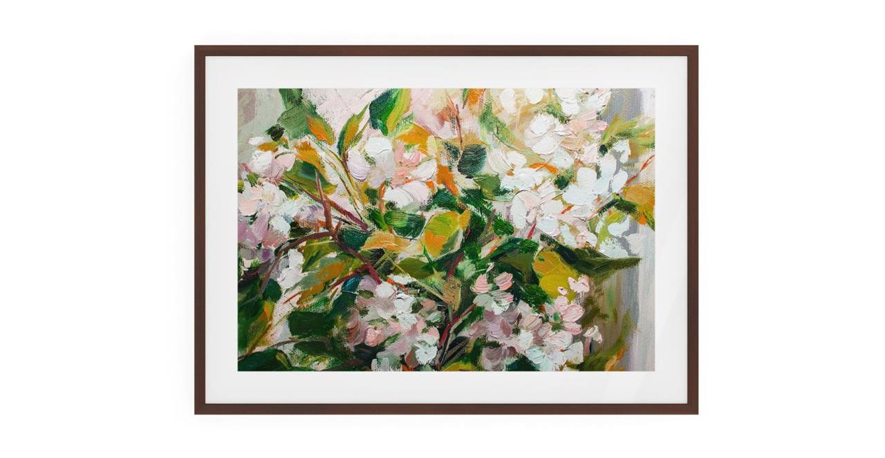 The Floret Print Dark Brown Wood Frame Medium