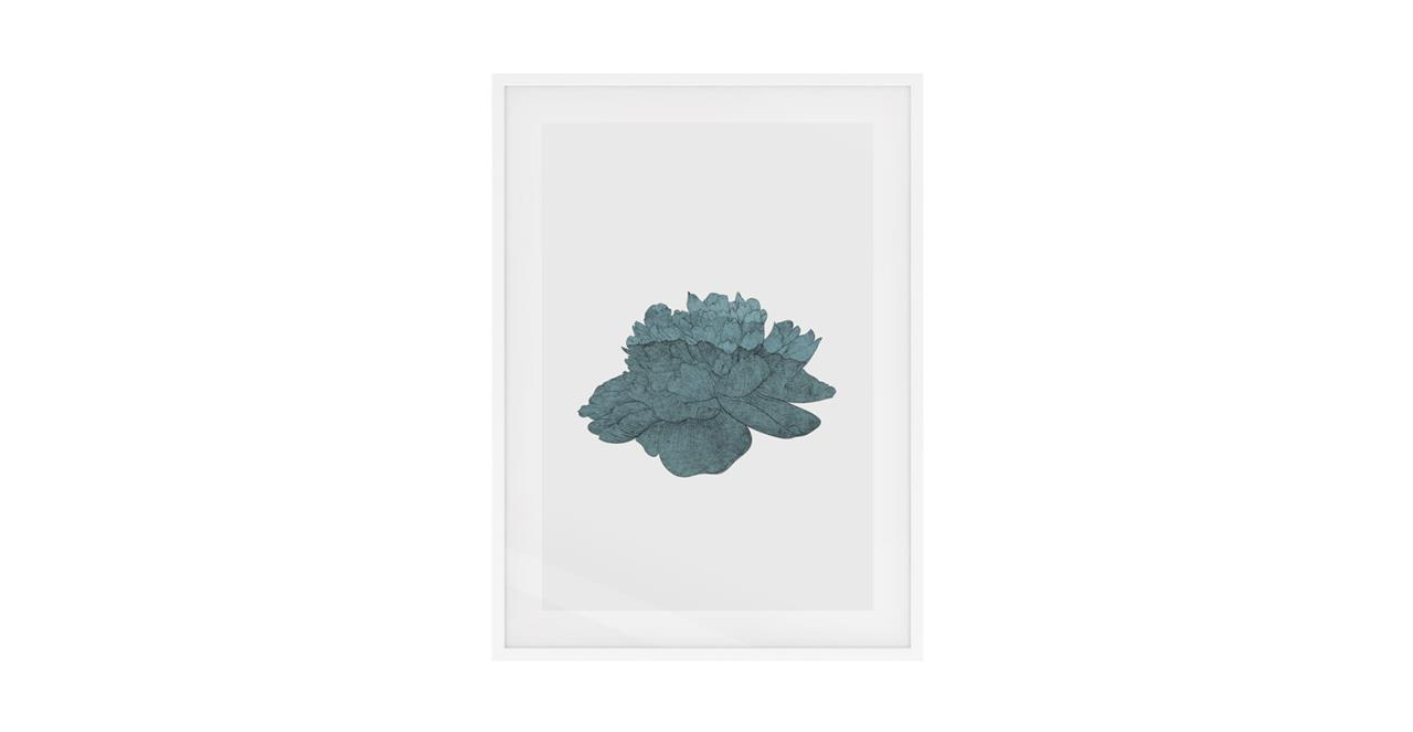 The Flowering Print White Wood Frame Small Turquoise