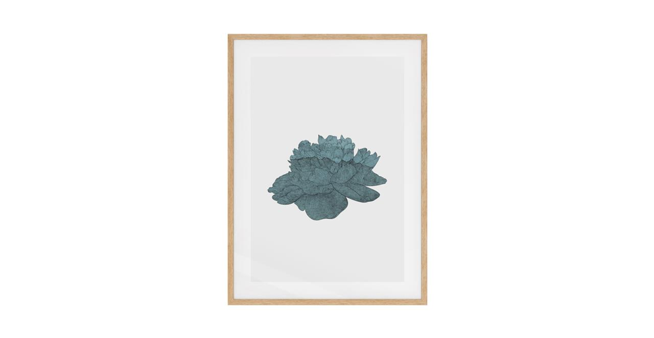 The Flowering Print Natural Wood Frame Small Turquoise