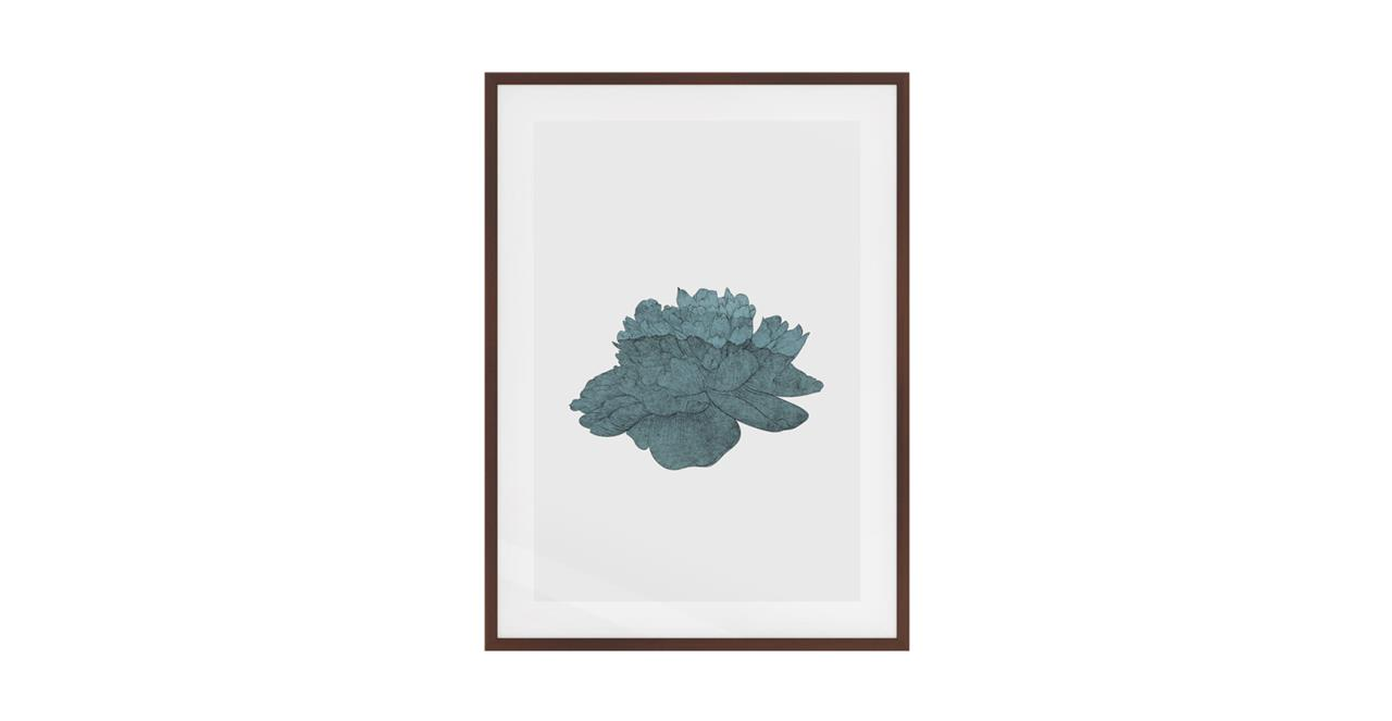 The Flowering Print Dark Brown Wood Frame Small Turquoise
