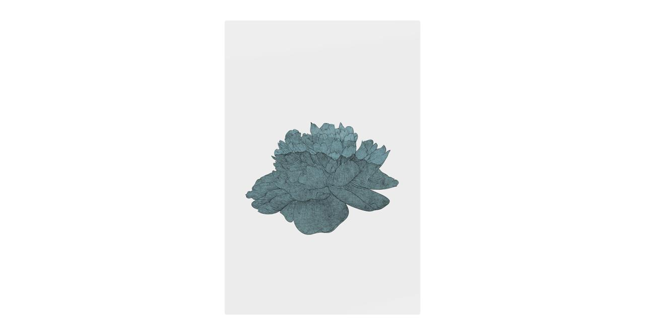 The Flowering Print Metal Print Small Turquoise