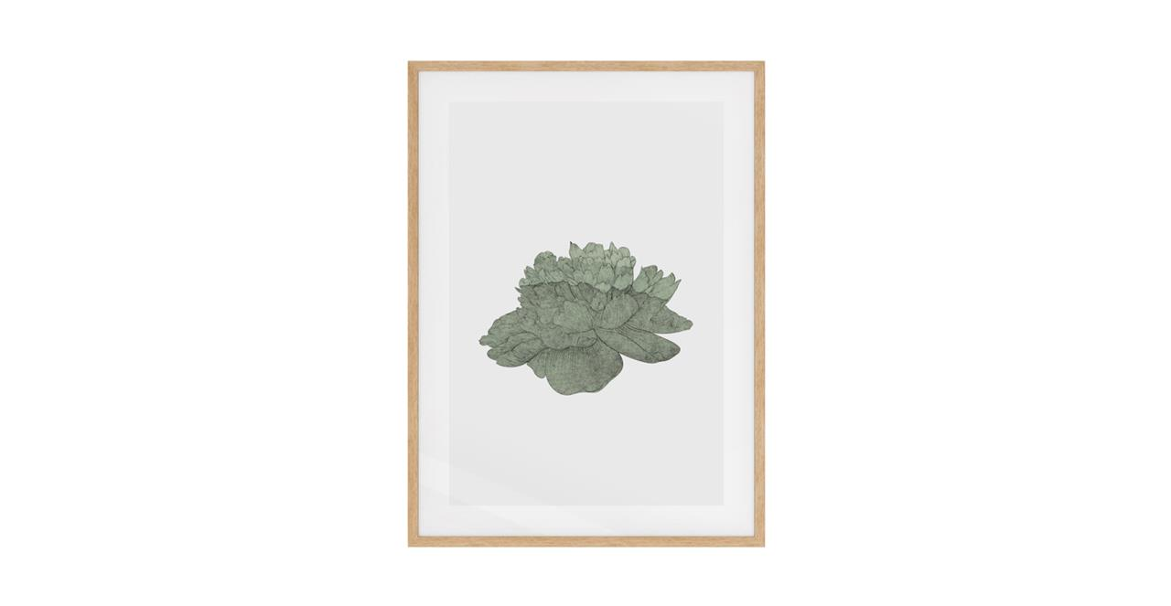 The Flowering Print Natural Wood Frame Small Green