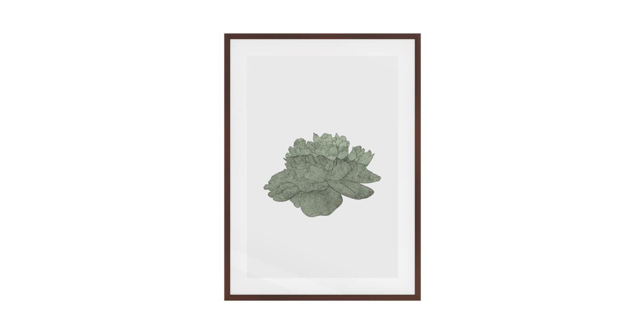 The Flowering Print Dark Brown Wood Frame Small Green