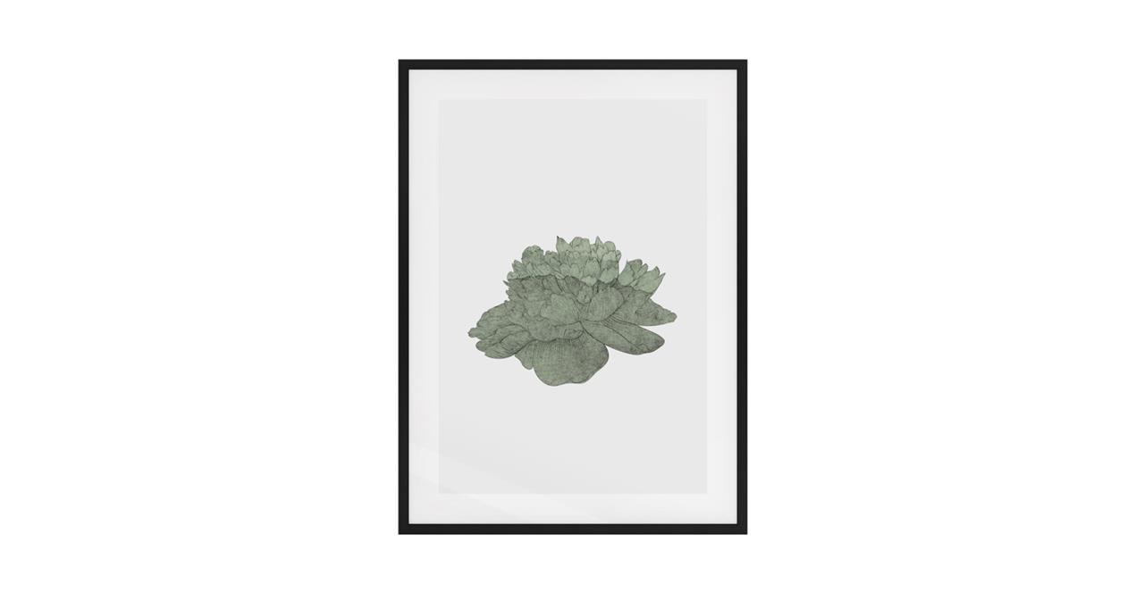 The Flowering Print Black Wood Frame Medium Green