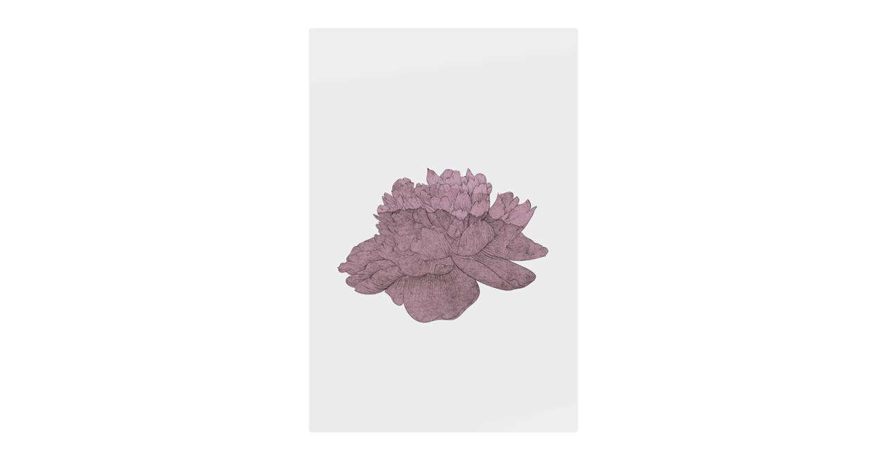 The Flowering Print Metal Print Small Dusty Pink