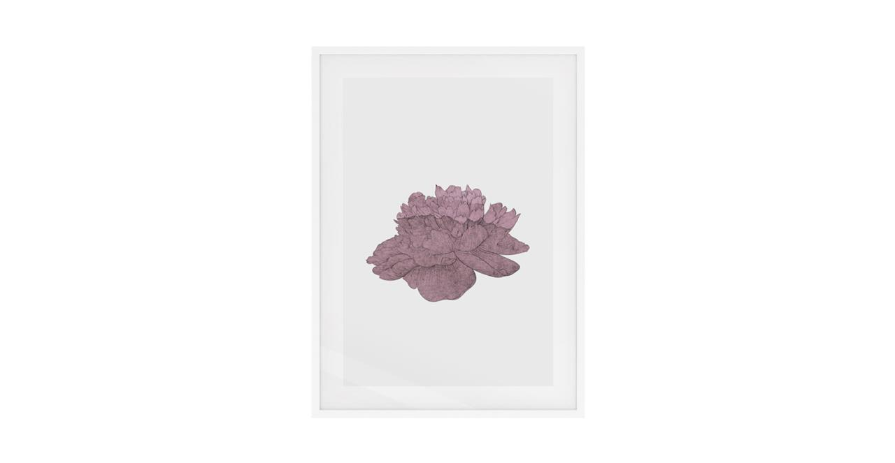 The Flowering Print White Wood Frame Medium Dusty Pink