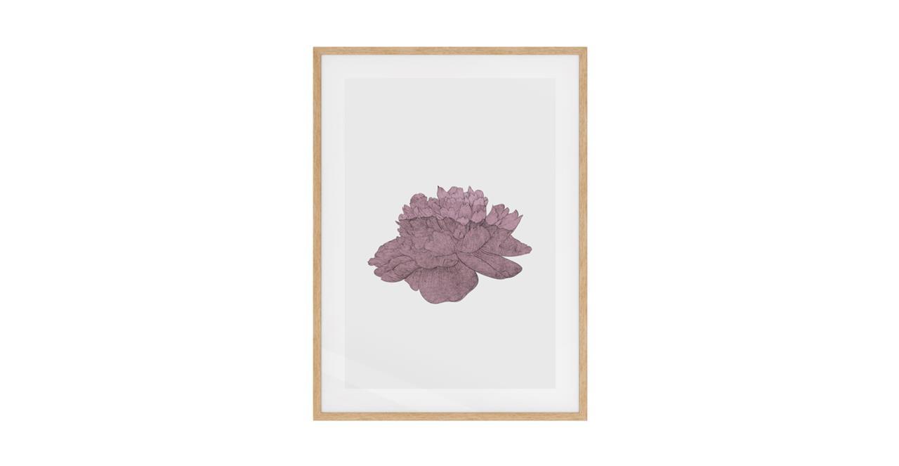 The Flowering Print Natural Wood Frame Medium Dusty Pink