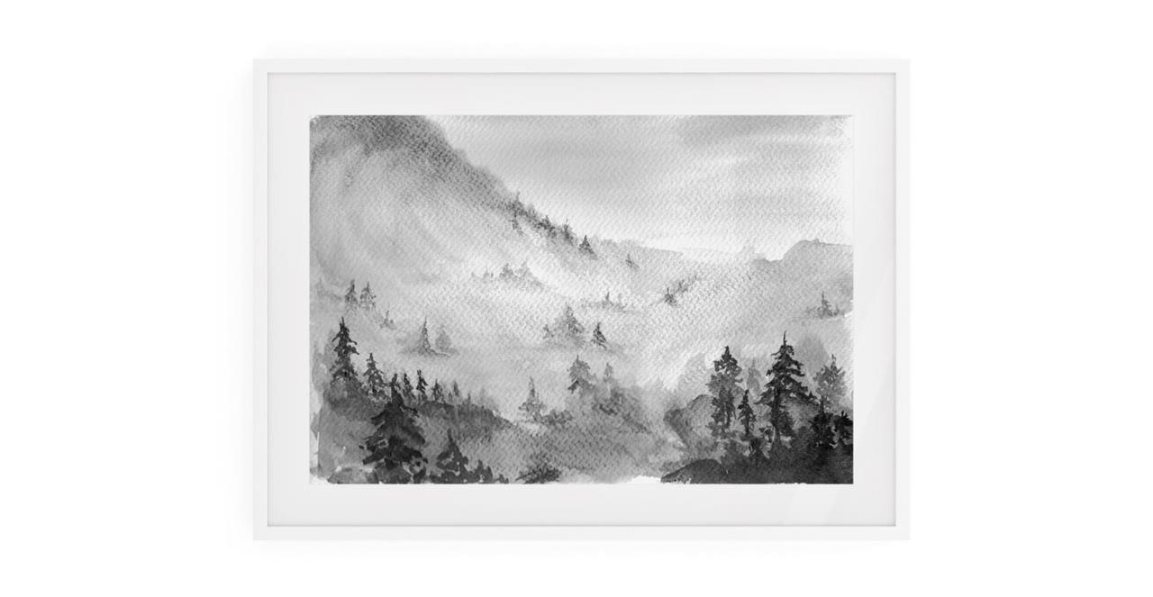 The Forest Print White Wood Frame Small