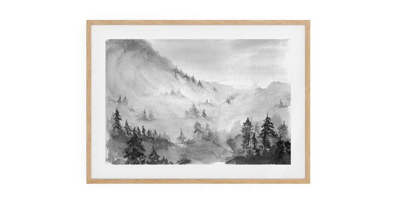 The Forest Print Natural Wood Frame Small