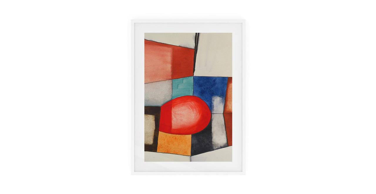 The Fractures Print White Wood Frame Small Circle