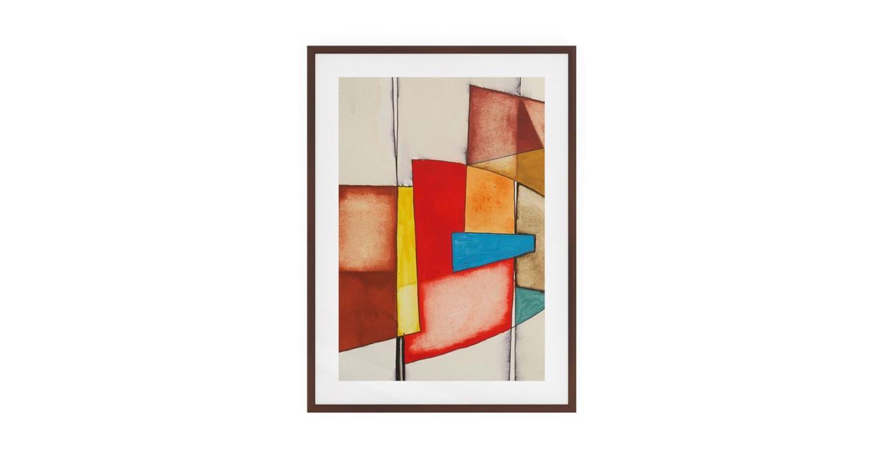 The Fractures Print Dark Brown Wood Frame Medium Square