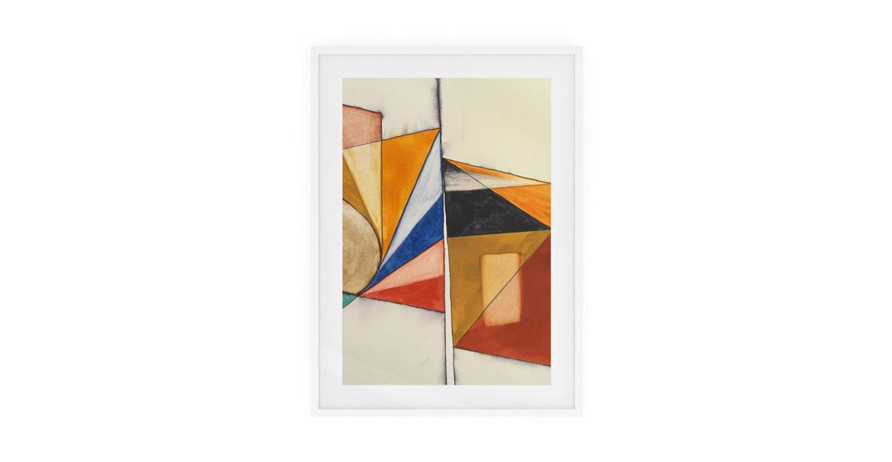 The Fractures Print White Wood Frame Small Triangle
