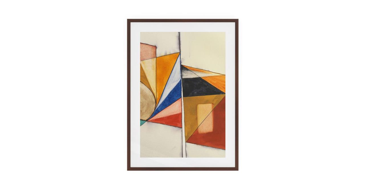 The Fractures Print Dark Brown Wood Frame Medium Triangle