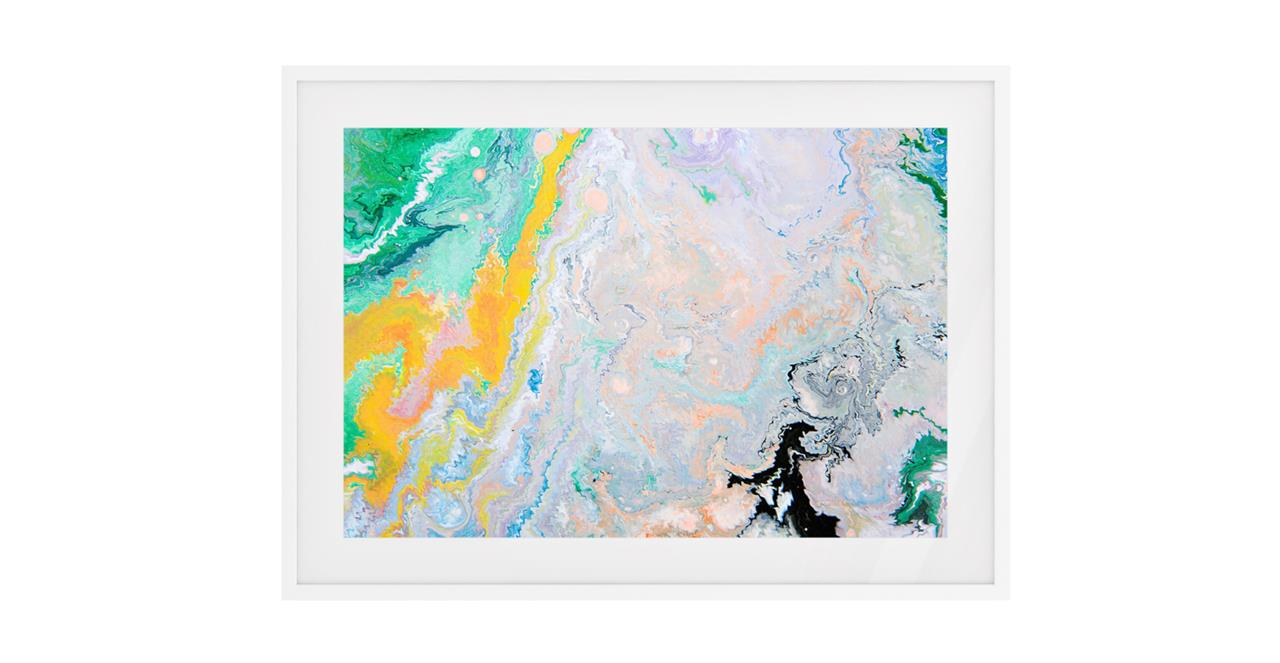 The Fragments Print White Wood Frame Small