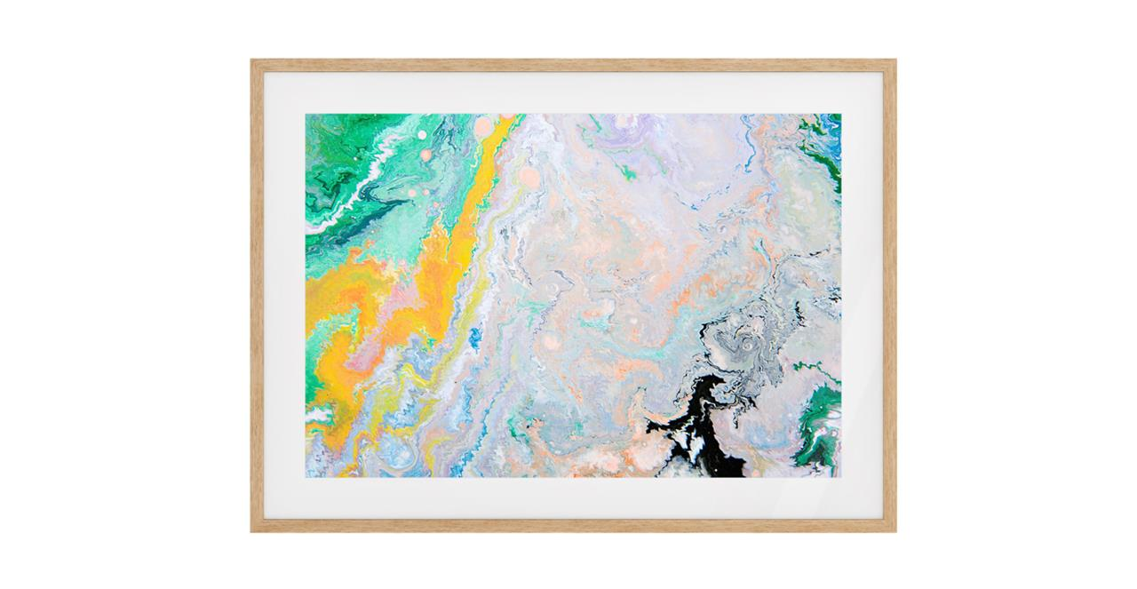 The Fragments Print Natural Wood Frame Small