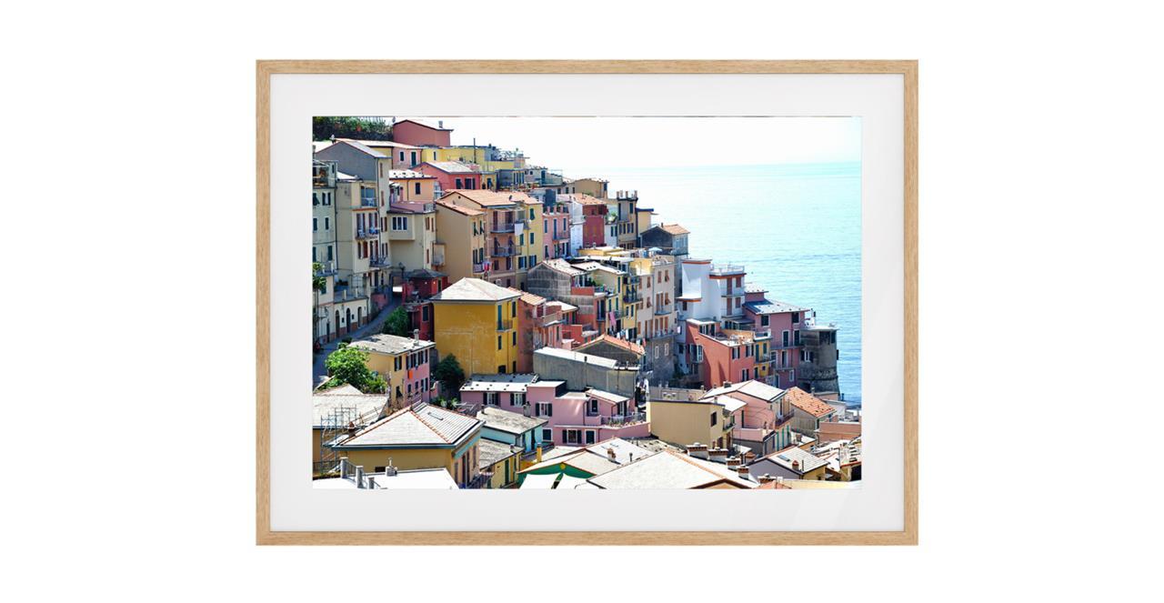 The Riviera Print Natural Wood Frame Medium