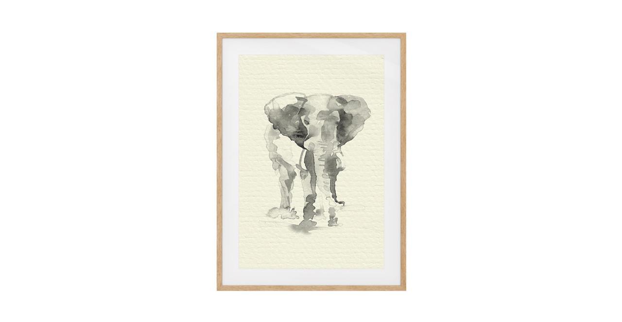 The Safari Print Natural Wood Frame Small Elephant