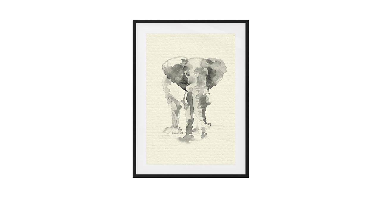 The Safari Print Black Wood Frame Medium Elephant