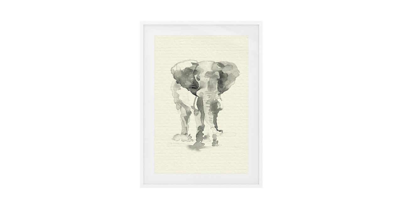 The Safari Print White Wood Frame Medium Elephant
